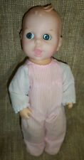 Vintage Gerber 11� Baby Doll With Flirty Eyes 1985 pink & white sleeper outfit