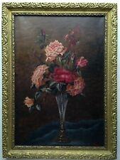Tableau ancien Ecole Française Grand Bouquet Rose vase soliflore Second Empire