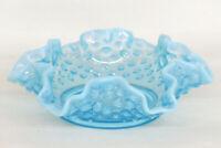 Fenton Hobnail Style Blue Opalescent Glass Ruffled Small Trinket Dish 1352B
