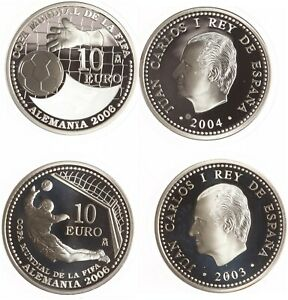 Spanien 2 x 10 Euro 2003, 2004 - Silber - PP