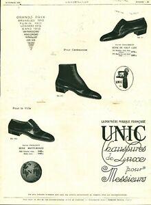Publicité ancienne chaussures Unic pour messieurs 1925 issue de magazine