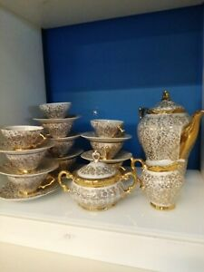 Servizio Da Tè Vintage In Porcellana Bavaria Con Oro Zecchino