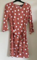 Primark Size 8 Ladies Pink Dress With White Spot Print & Belt