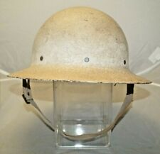 Original WW2 1940s US Military Doughboy White Camo Civil Defense Steel Helmet