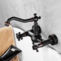 Oil Rubbed Bronze Wall Mount Bathroom Faucet Swivel Dual Cross Knobs Mixer Tap