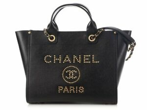 Chanel Black Caviar Leather Gold Studded Deauville Tote Bag