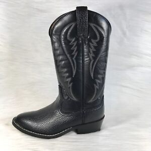 Express Rider Men's Cowboy Boots Trivette Faux Black Leather Western Size 8