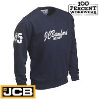 JCB Heritage Navy Blue Heavyweight Crew Neck Sweatshirt Jumper Work Wear Trade
