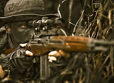 "Sniper Soldier in Grass - Military - 32"" x 24"" LARGE WALL POSTER PRINT NEW."