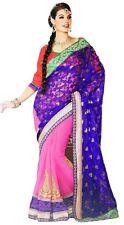Trendy Blue Designer Sari Exclusive Georgette Saree Indian Women Dress Clothing
