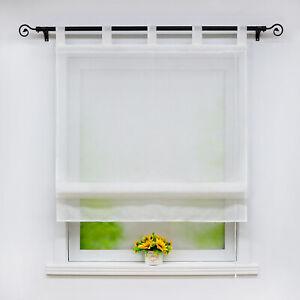 Raffrollo mit Schlaufen Küche Gardinen Weiß Raffgardinen Leinen Transparent Uni