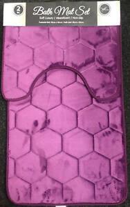 New 2pc Luxury Bathroom Plush Bath Mat Set Diamond Print Non Slip Soft Rug