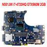 For ASUS N551JX N551JW N551JK Motherboard With i7-4750H CPU GT960M 2GB Mainboard