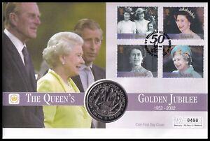2002 Pitcairn Islands Queen's Golden Jubilee Sierra Leone $1 Coin Mercury FDC