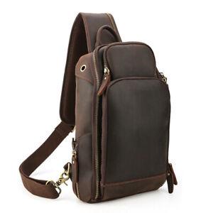 Men's Vintage Real Leather Sling Bag Crossbody Chest Bag Shoulder Backpack