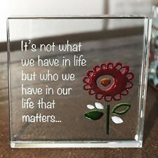 Spaceform Miniature Glass Token Red Flower Heartfelt Message Love Keepsake Gift
