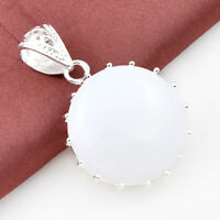 Lady Gorgeous Genuine Huge Round Moonstone Gems Solid Silver Necklace Pendants
