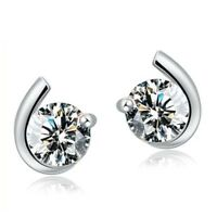925 Sterling Silver Plated Earrings Stud Studs Round Jewelry Women Ear Fashion