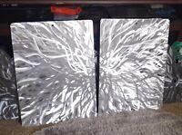 Modern art work Abstract Metal Wall Sculpture Art silver Painting Home Decor New