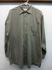 Brooks Brothers Men's Stretch Green Cotton/Lycra Button Front Shirt Sz 16-32/33