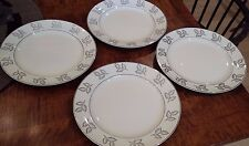 """4 Vintage Knowles Frosted Leaves Pattern 10.25"""" Dinner Plates by Freda Diamond"""