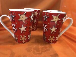 "4 Retsch Arzberg Kaffeetassen "" Weihnachten "" 11,5 x 8,5 cm"
