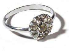 Vintage Czech silver tone crystal glass rhinestone flower costume jewelry ring