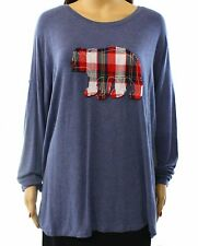 G.H. Bass Womens Plaid Bear Applique Long Sleeve Top Relaxed Fit Casual Medium