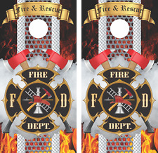Fire and Rescue Firefighter Cornhole Board Skin Wrap Decal Set of 2 -LAMINATED