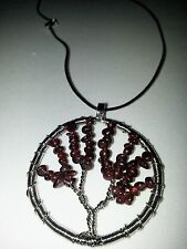 Garnet Colored Tree of Life Necklace