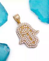 14K Yellow White Rose Gold Hamsa Hand Created Diamond Evil Eye Pendant Necklace