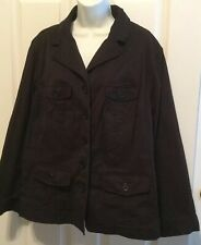 Utility Jacket, by Lane Bryant, Plus Size 22-24, Black Cotton Blend, VGUC