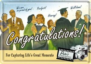 Tin Sign 10107 - Congratulations - 3 7/8X5 1/2in - New