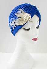 Azul&Blanco Marfil Perla pluma turbante Accesorio para pelo WW2 Vintage
