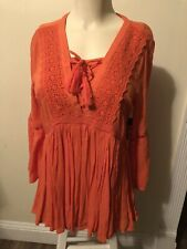 CROWN & IVY  BLOUSE TUNIC COTTON 3/4 SLEEVES EMBROIDED BOHO Sz XS MRSP $65