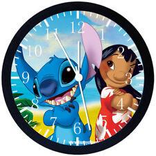 Disney Lilo & Stitch Black Frame Wall Clock Nice For Decor or Gifts E155