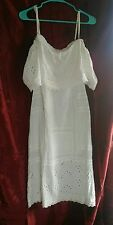 Free People white Eyelet Lace Off The Shoulder Ruffled dress 5p