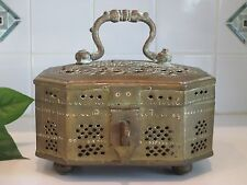 """Large Pierced BRASS Footed CRICKET CAGE Trinket BOX Hinged 8"""" by 7"""""""