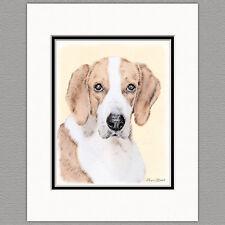 American Foxhound Dog Original Art Print 8x10 Matted to 11x14