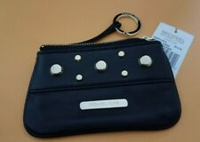 NEW MICHAEL KORS LUDLOW  BLACK LEATHER,GOLD STUDS COIN PURSE KEY SMALL WALLET