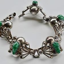 *Vintage Art Deco Mexican 3D Green Stone Mask St Silver Balls Filigree Bracelet