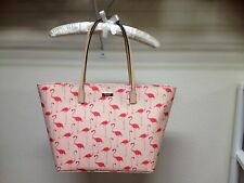 $248 Kate Spade Zippered Tote Shoulder Bag Large Shore Street Flamingo Print NWT