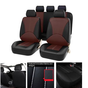 9pcs Car Seat Cover Cushion Protector Front & Rear Full Set PU Leather Interior