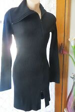 VINTAGE  ~ CAROLINE MORGAN ~ Black Rib/Zip DRESS  * Size XS * NEW * REDUCED !!