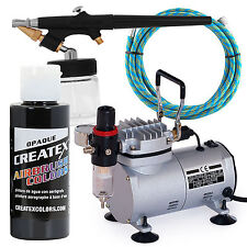 Airbrush Gun Starter Kit with Compressor and Black Paint - Hobby - T-Shirt
