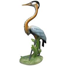 More details for vintage original 20th century porcelain crane bird ornament signed