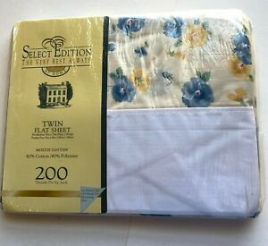 Vintage NOS 1 Select Editions Pansy Flower Pattern Twin Flat Sheet Blue Yellow