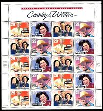 1993 - COUNTRY & WESTERN MUSIC #2771-74 Full Mint Sheet of 20 Postage Stamps