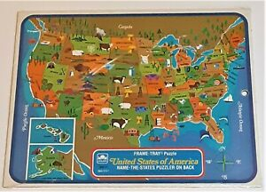 VTG 1968 - Golden - Frame Tray Puzzle of U.S. Map - New - Teaching Aid for Kids