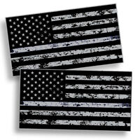 2X Black OPS American Flag Sticker Decal Subdued USA Car Distressed Truck Grunge